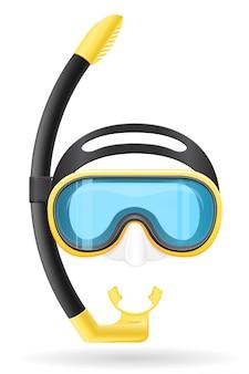 Máscara e tubo para mergulho.