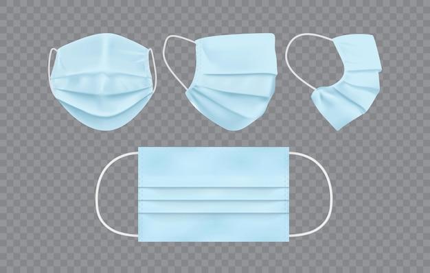 Máscara facial azul isolada em fundo escuro