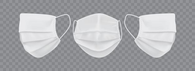 Máscara facial branca em fundo transparente