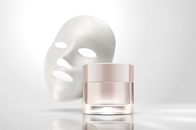 Máscara facial com frasco de creme isolado em fundo branco pérola