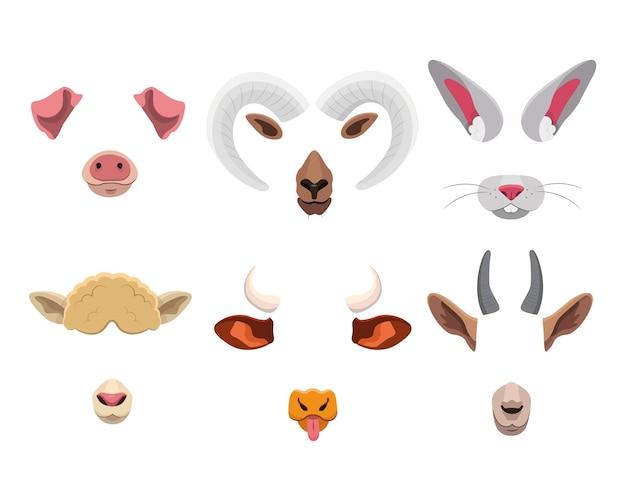 Máscara facial de animal definida para aplicativo móvel