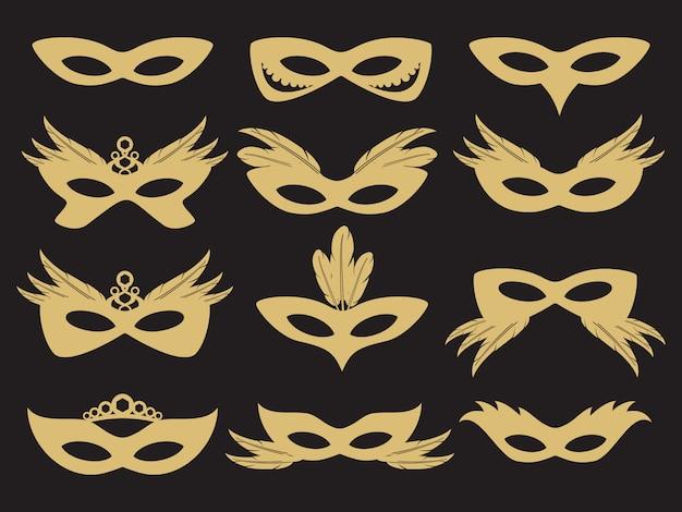 Máscara facial de festa de carnaval de ouro