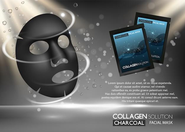 Máscara facial de folha de carvão vegetal publicidade realista
