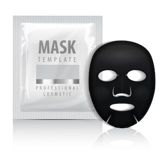 Máscara facial de folha preta com saquinho.