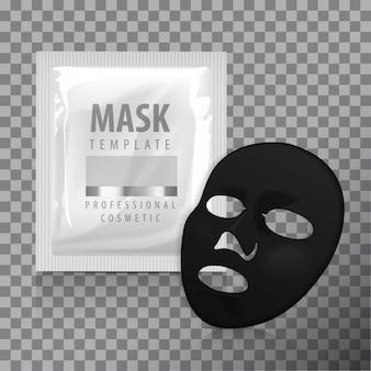 Máscara facial de folha preta. pacote de cosméticos.