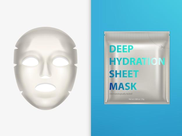 Máscara facial de lenço elástico e bolsa de plástico selada