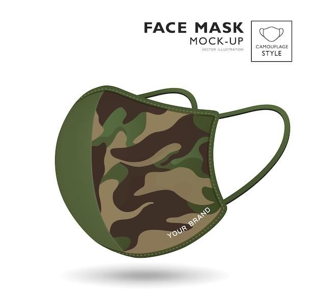 Máscara facial de pano verde com padrão de camuflagem