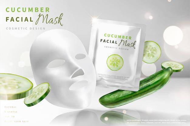 Máscara facial de pepino com ingredientes, fundo branco brilhante pérola