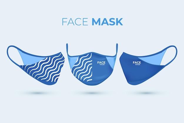 Máscara facial de tecido realista com linhas onduladas