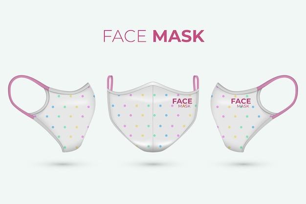 Máscara facial de tecido realista com pontos