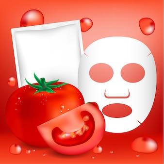 Máscara facial de tomate e pacote em branco