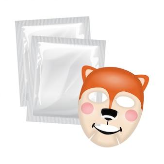 Máscara facial de vetor, conceito de cuidado de pele, máscara com cara de esquilo, tratamento de pele