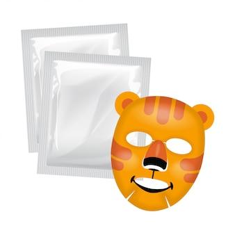 Máscara facial de vetor, conceito de cuidado de pele, máscara com cara de tigre, tratamento de pele