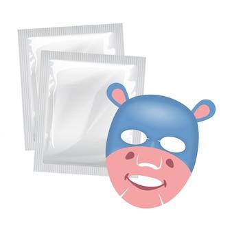 Máscara facial de vetor, conceito de cuidado de pele, máscara com um rosto de hipopótamo, tratamento de pele