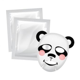 Máscara facial de vetor, conceito de cuidado de pele, máscara com um rosto de panda, tratamento de pele
