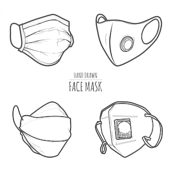 Máscara facial desenhada mão