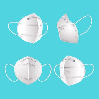 Máscara facial kn95 de design plano em diferentes perspectivas