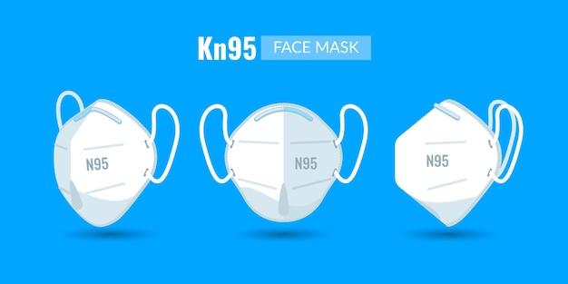 Máscara facial kn95 plana em diferentes perspectivas