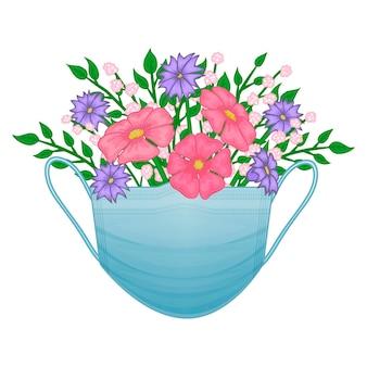 Máscara facial médica com flores. bouquet de primavera. estilo de desenho animado. ilustração. isolado no branco.