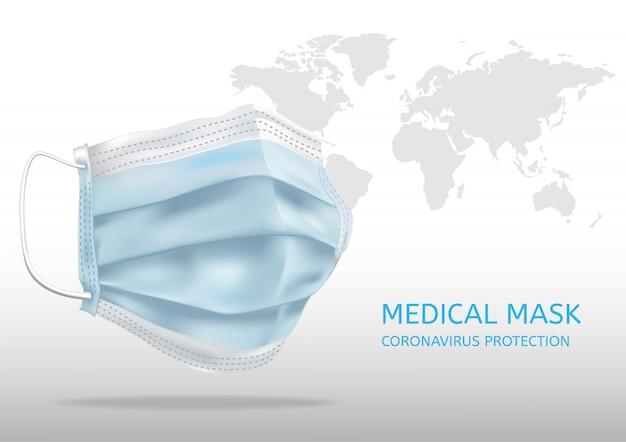 Máscara facial médica realista. detalhes 3d máscara médica. ilustração