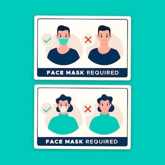Máscara facial necessária - coleção de sinais