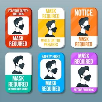 Máscara facial necessária coleção de sinais