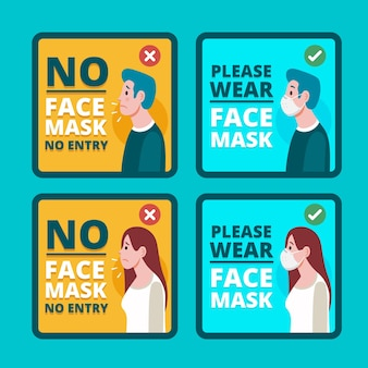 Máscara facial necessária embalagem de sinalização