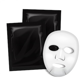 Máscara facial. pacote de cosméticos preto. pacote para máscara facial em fundo branco