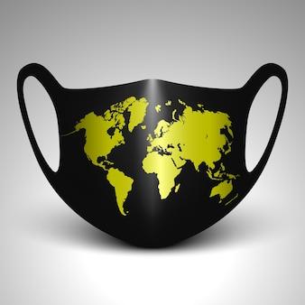 Máscara facial preta com mapa-múndi.
