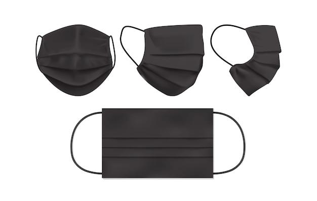 Máscara facial preta isolada em fundo branco