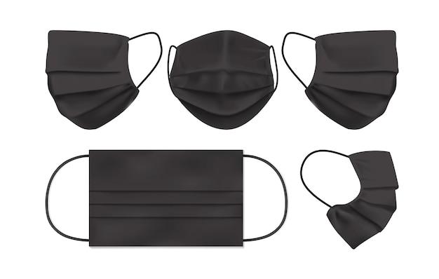 Máscara facial preta isolada no fundo branco