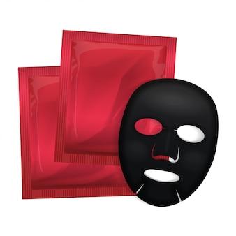 Máscara facial preta. pacote de cosméticos. design de pacote de vetor para máscara facial em branco