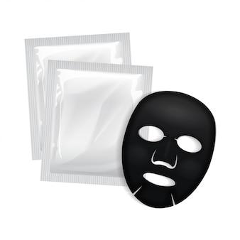 Máscara facial preta. pacote de cosméticos