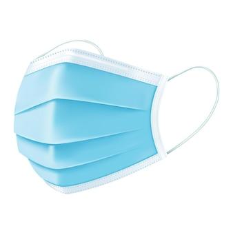 Máscara facial protetora azul médica isolada no branco