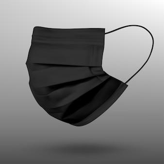 Máscara facial protetora preta ou máscara médica. para proteger o coronavírus e a infecção. máscara médica isolada em fundo cinza. ilustração vetorial realista