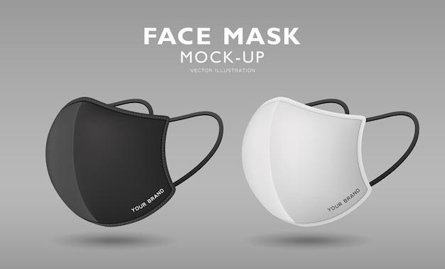 Máscara facial vista lateral em tecido preto e branco, modelo de design, em fundo cinza