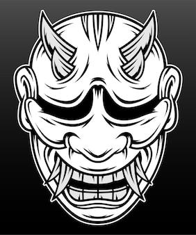 Máscara hannya do japão ilustração desenhada à mão