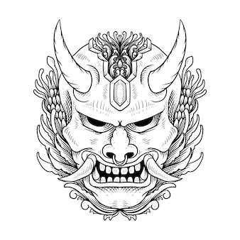 Máscara hannya oni japonesa Vetor Premium