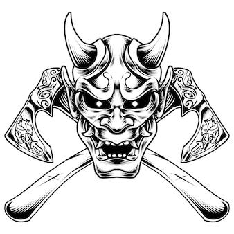Máscara hanya com desenho de ilustração de machado