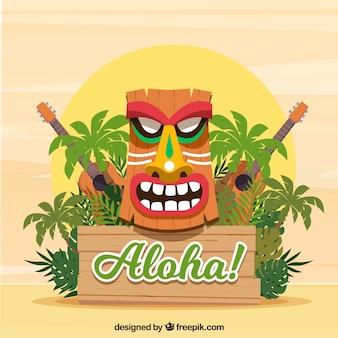 Máscara havaiana, plantas e ukuleles