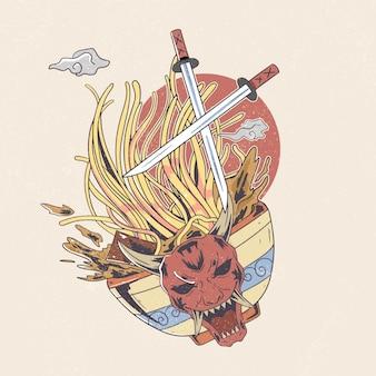 Máscara japonesa malvada macarrão ramen com ilustração de katana