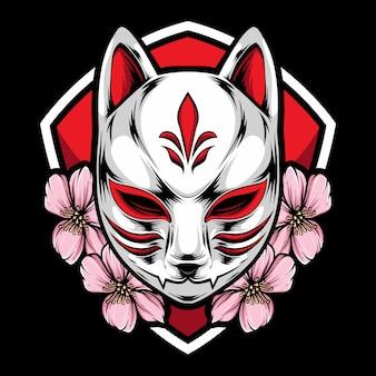 Máscara kitsune com sakura