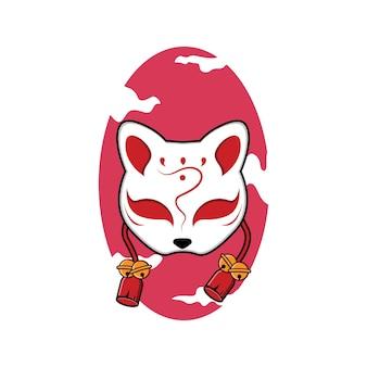 Máscara kitsune vetor premium