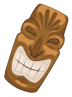 Máscara maia dourada com cultura e tradição de sorriso