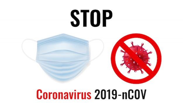 Máscara médica com coronavírus isolado no fundo branco