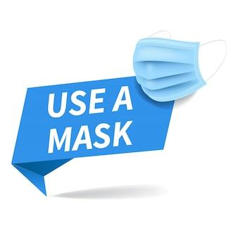 Máscara médica com origami banner isolado fundo branco