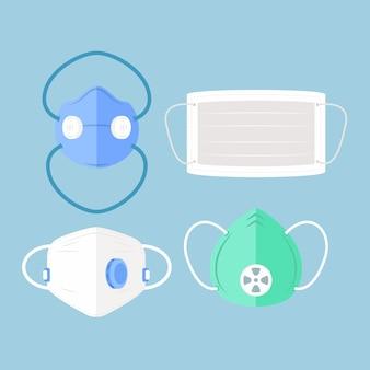 Máscara médica de design plano