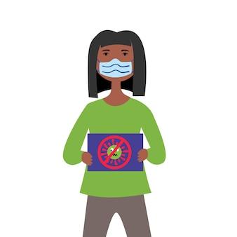 Máscara médica de garota negra protestando contra coronavírus
