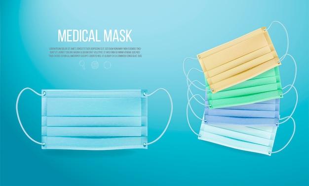 Máscara médica em fundo azul