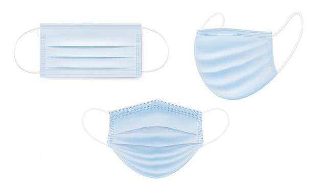 Máscara médica grande conjunto isolada com fundo branco